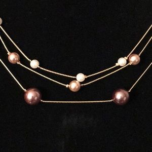 VINTAGE Triple Strand Gold Tone Pearl Necklace